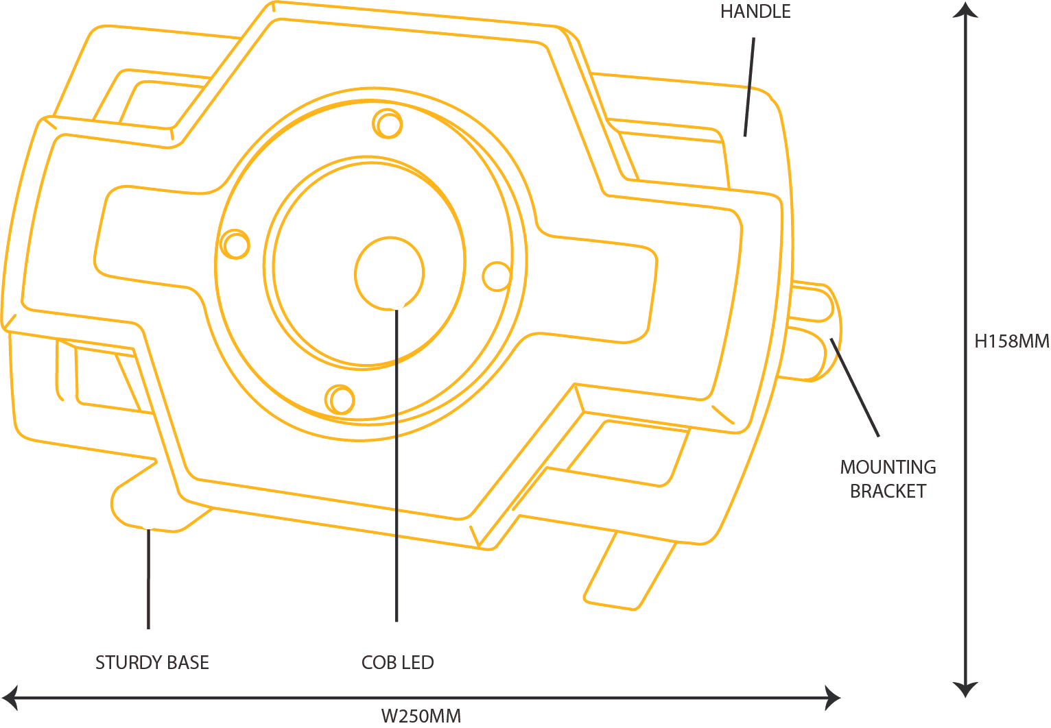 30W LED Rechargeable Industrial Task Light [diagram]